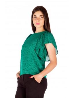 Bluza verde cu buline