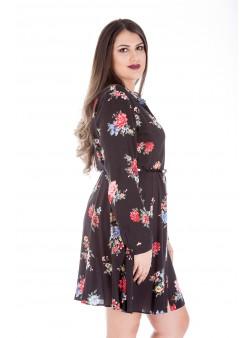 Rochie cu imprimeu si maneca lunga