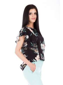 Bluza cu imprimeu floral si insertie din dantela