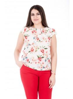 Bluza cu imprimeu floral si decupaj pe spate