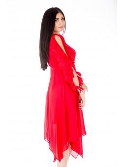 Rochie roșie cu talie înaltă și mânecă lungă, despicată