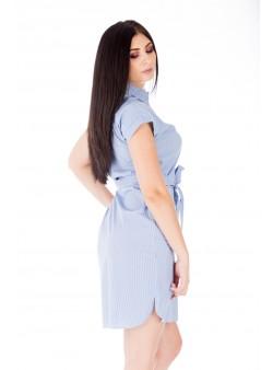 Rochie alb-albastru scurtă tip cămașă
