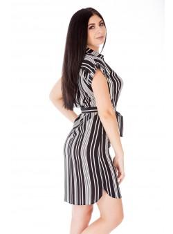 Rochie alb-negru scurtă tip cămașă