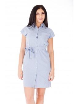 Rochie alb/albastru scurtă tip cămașă