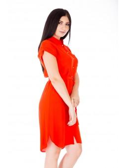 Rochie portocalie medie tip cămașă
