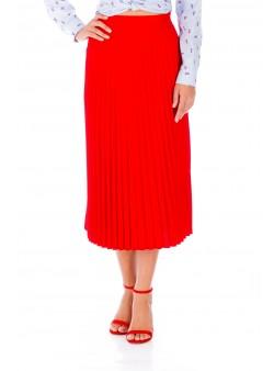Fustă midi roșie plisată