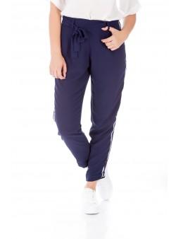 Pantaloni bleumarin cu inserții laterale