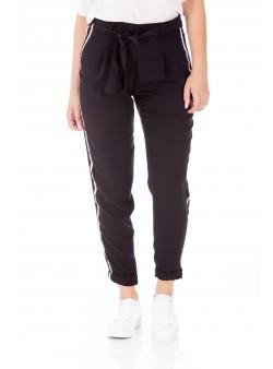 Pantaloni negri cu inserții laterale