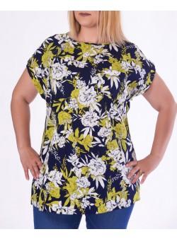 Bluza cu imprimeu floral si fermoar metalic pe spate