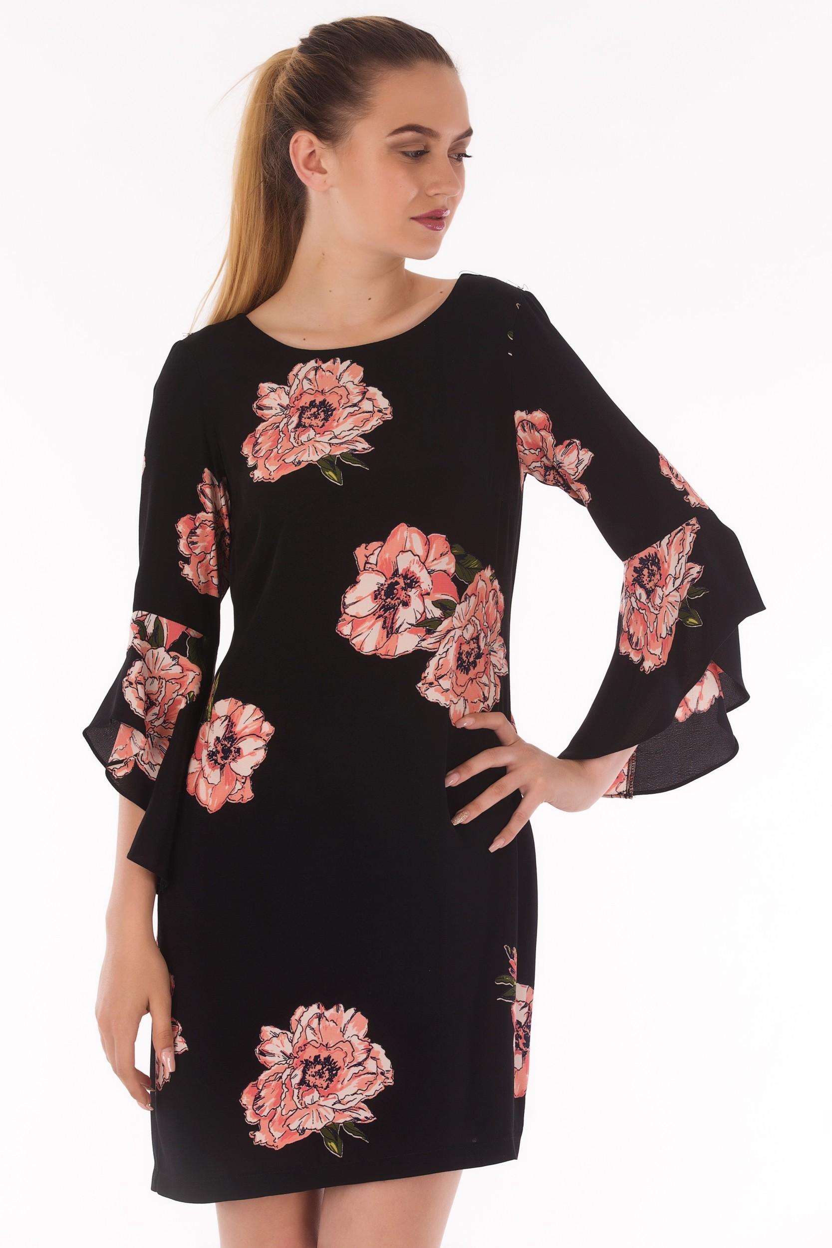 Rochie cu imprimeu floral si maneca copot