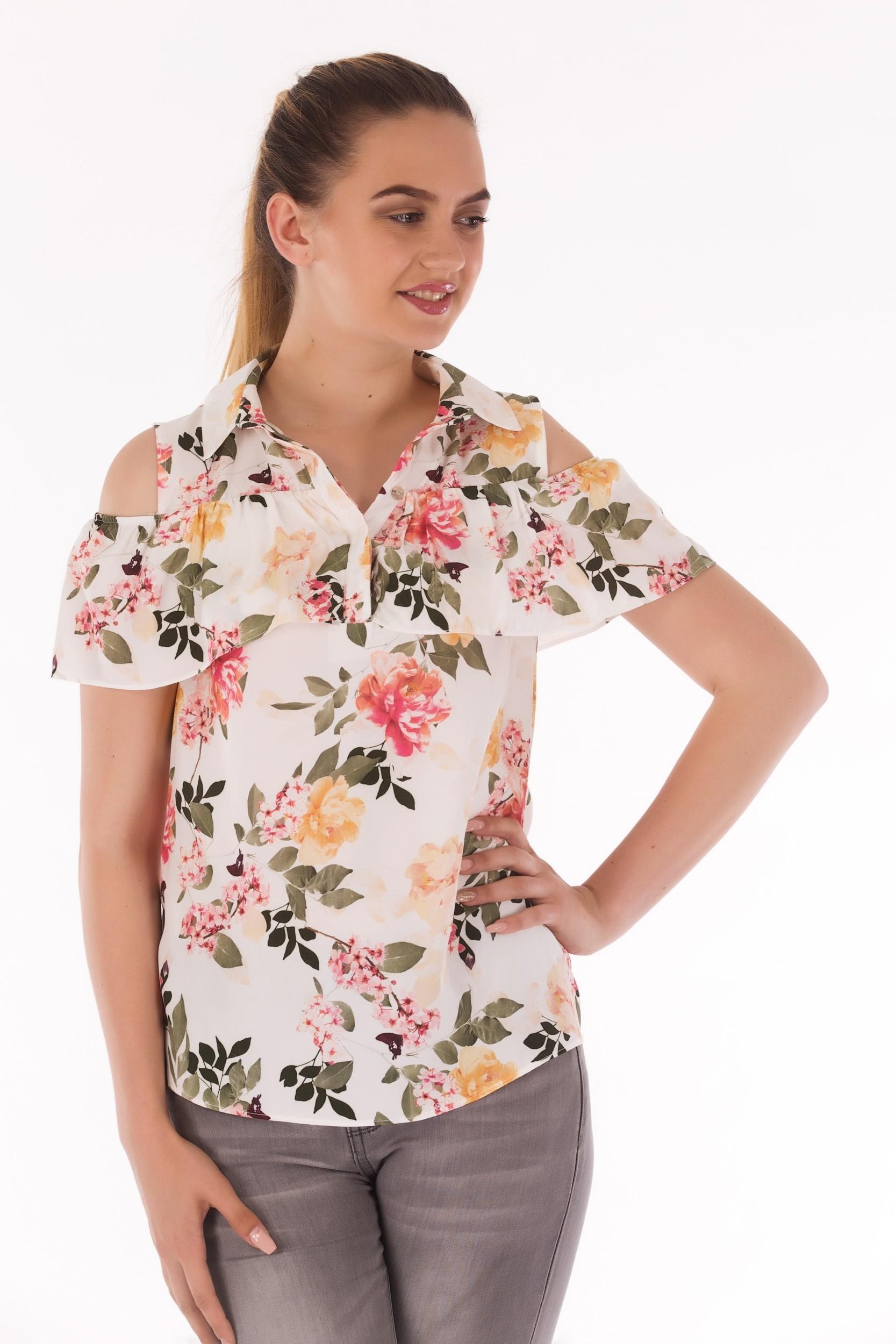 Bluza cu imprimeu floral si maneca scurta