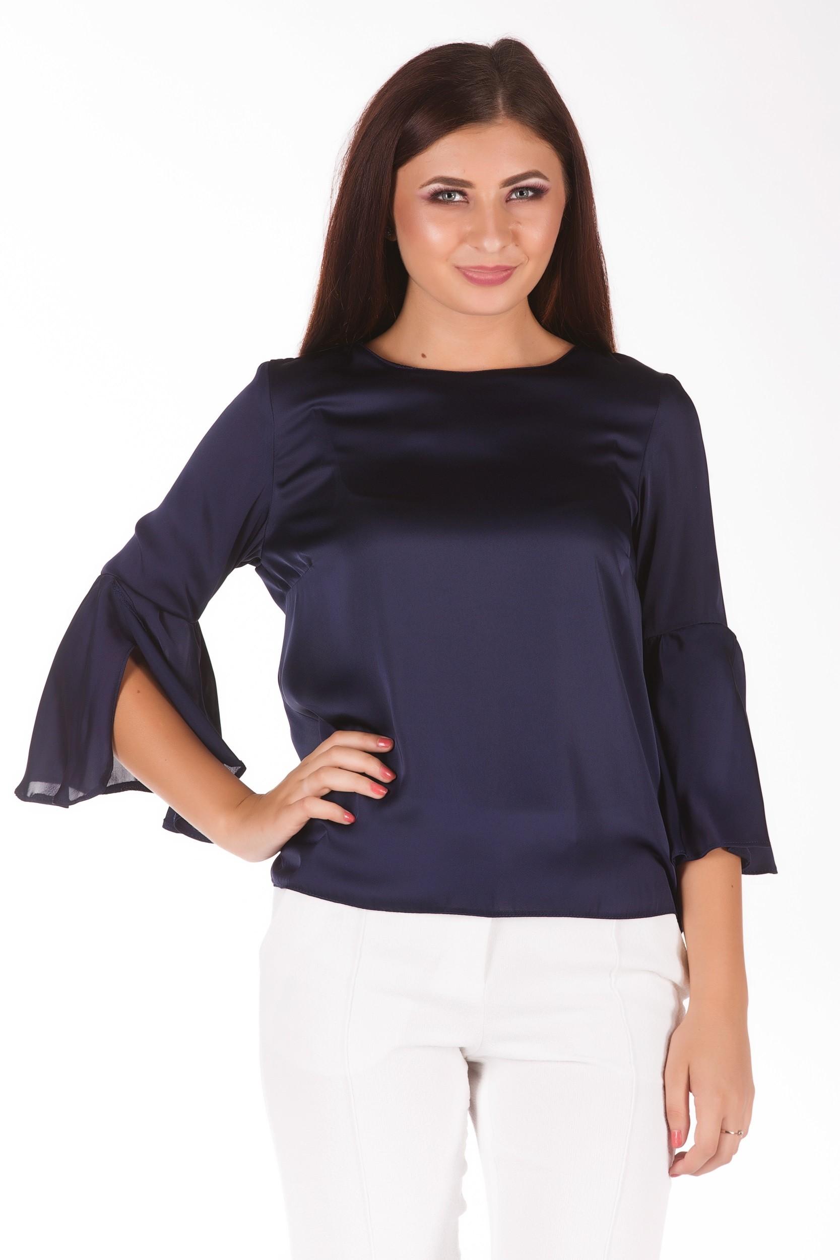 Bluza bleumarin cu maneca clopot