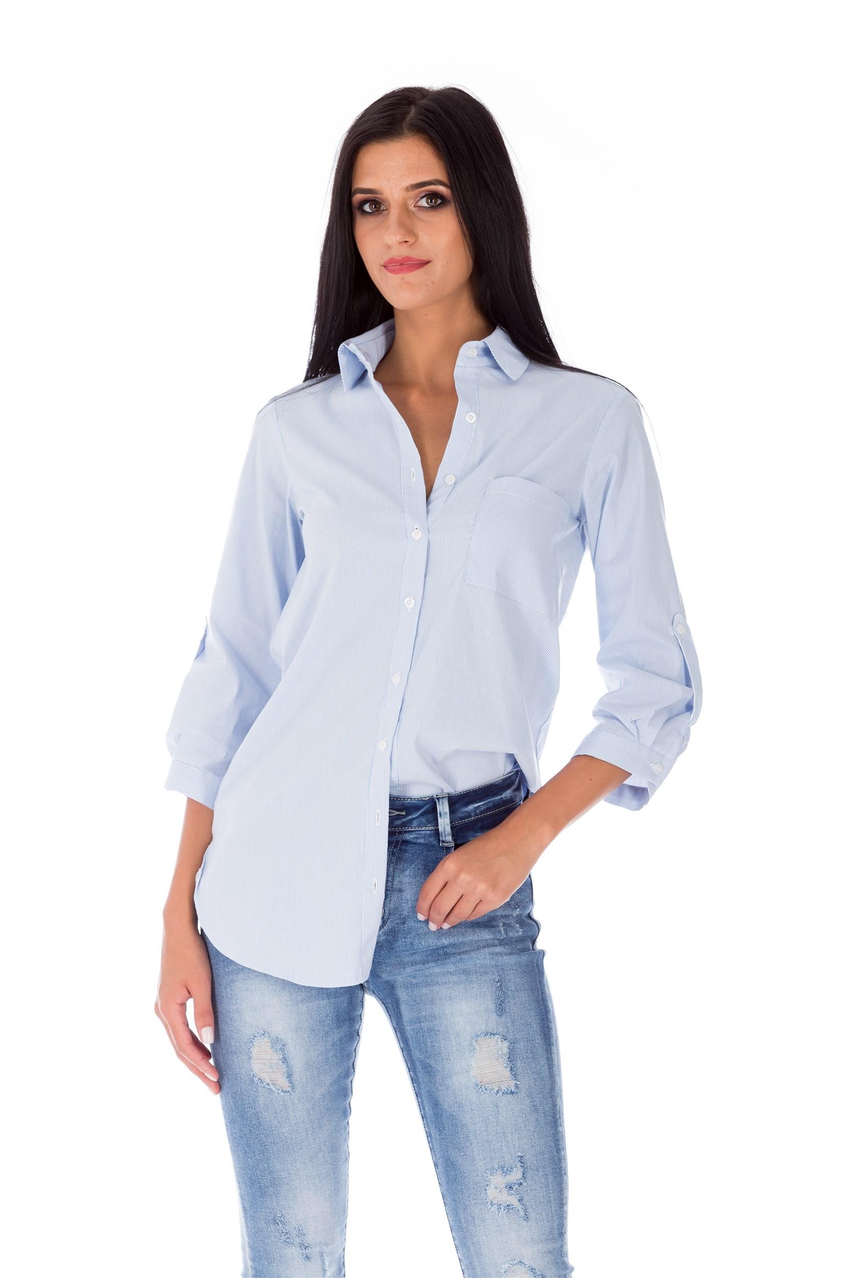 Bluză albastră stil cămașă din bumbac