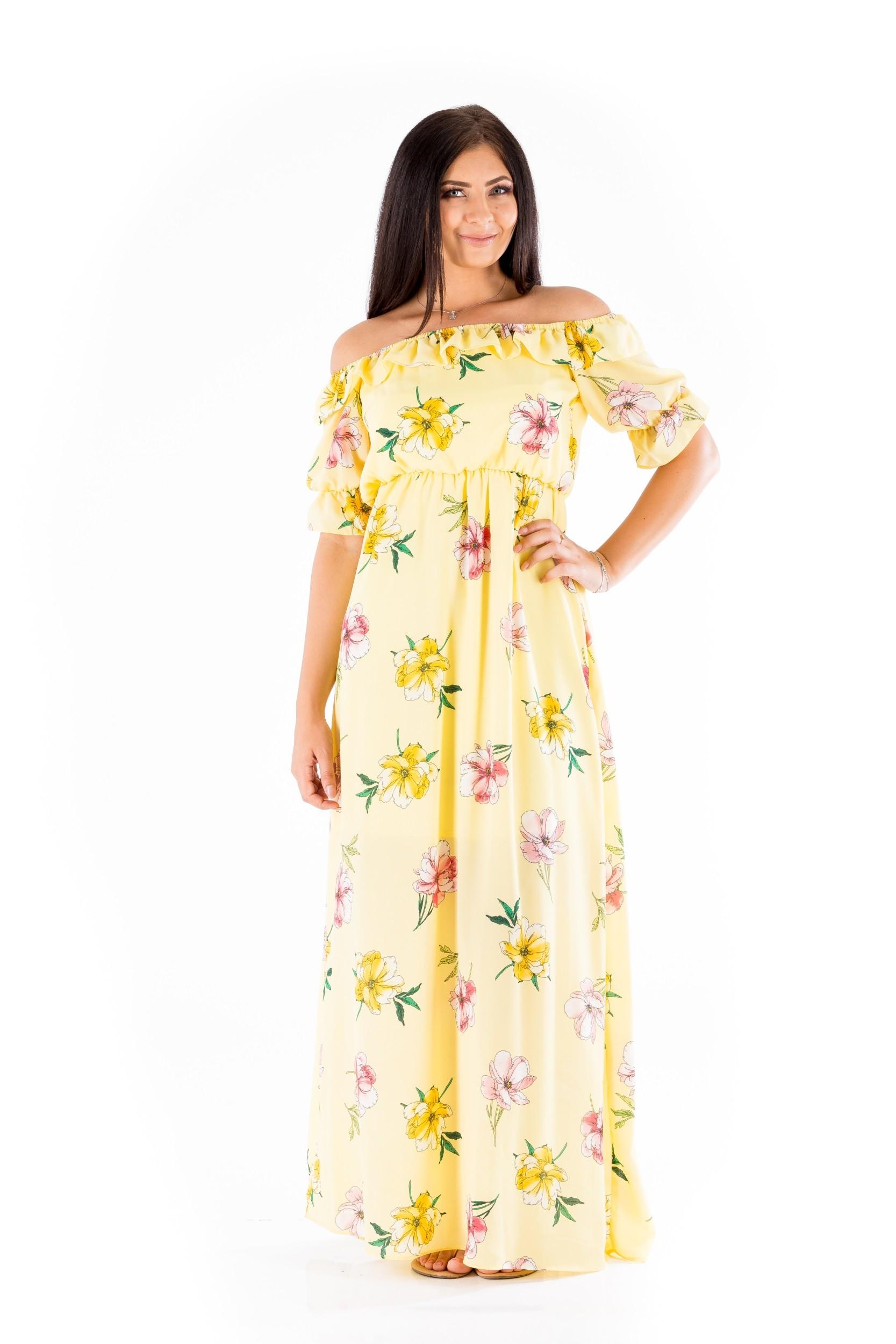 Rochie galbenă cu imprimeu floral