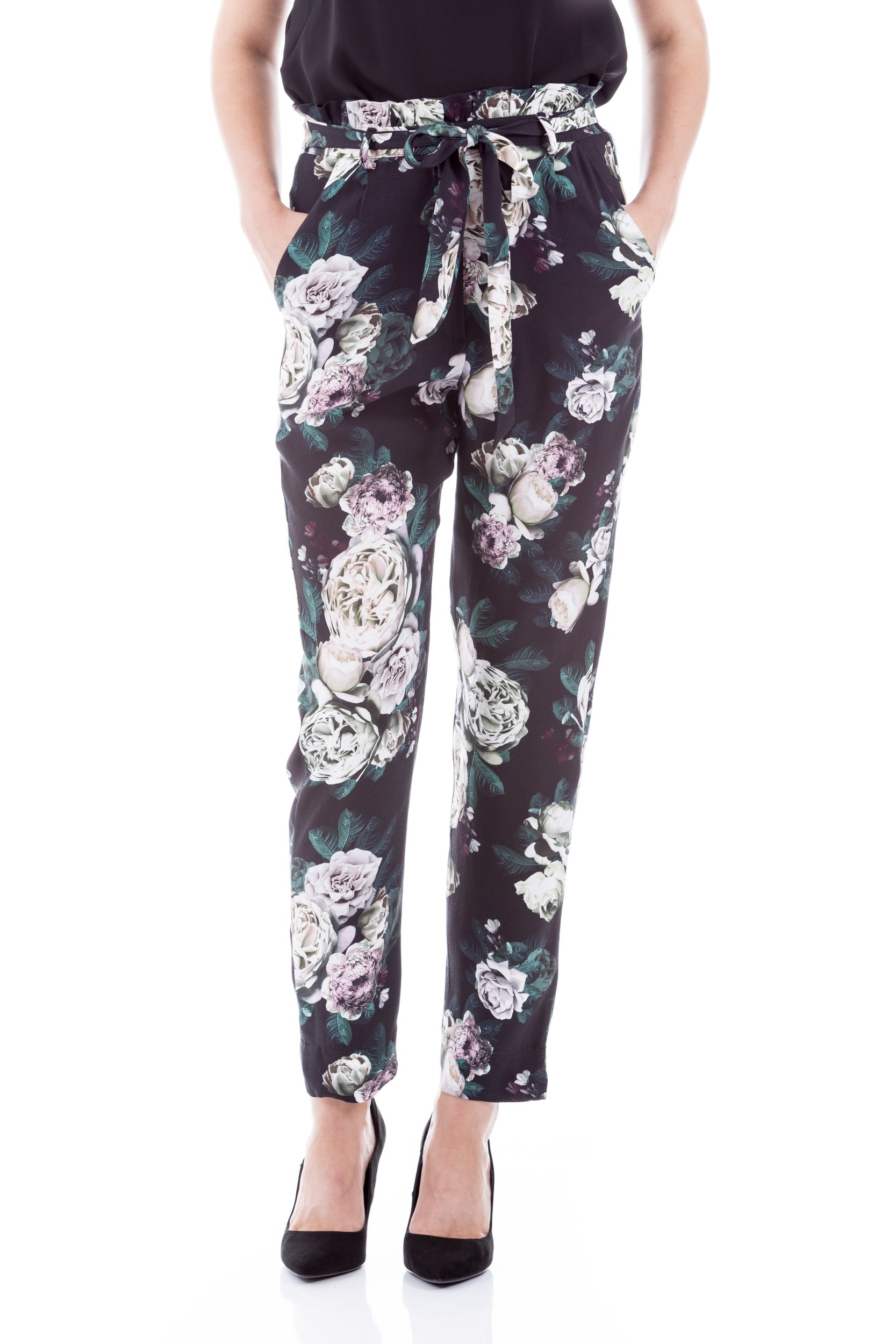 Pantaloni casual cu imprimeu floral