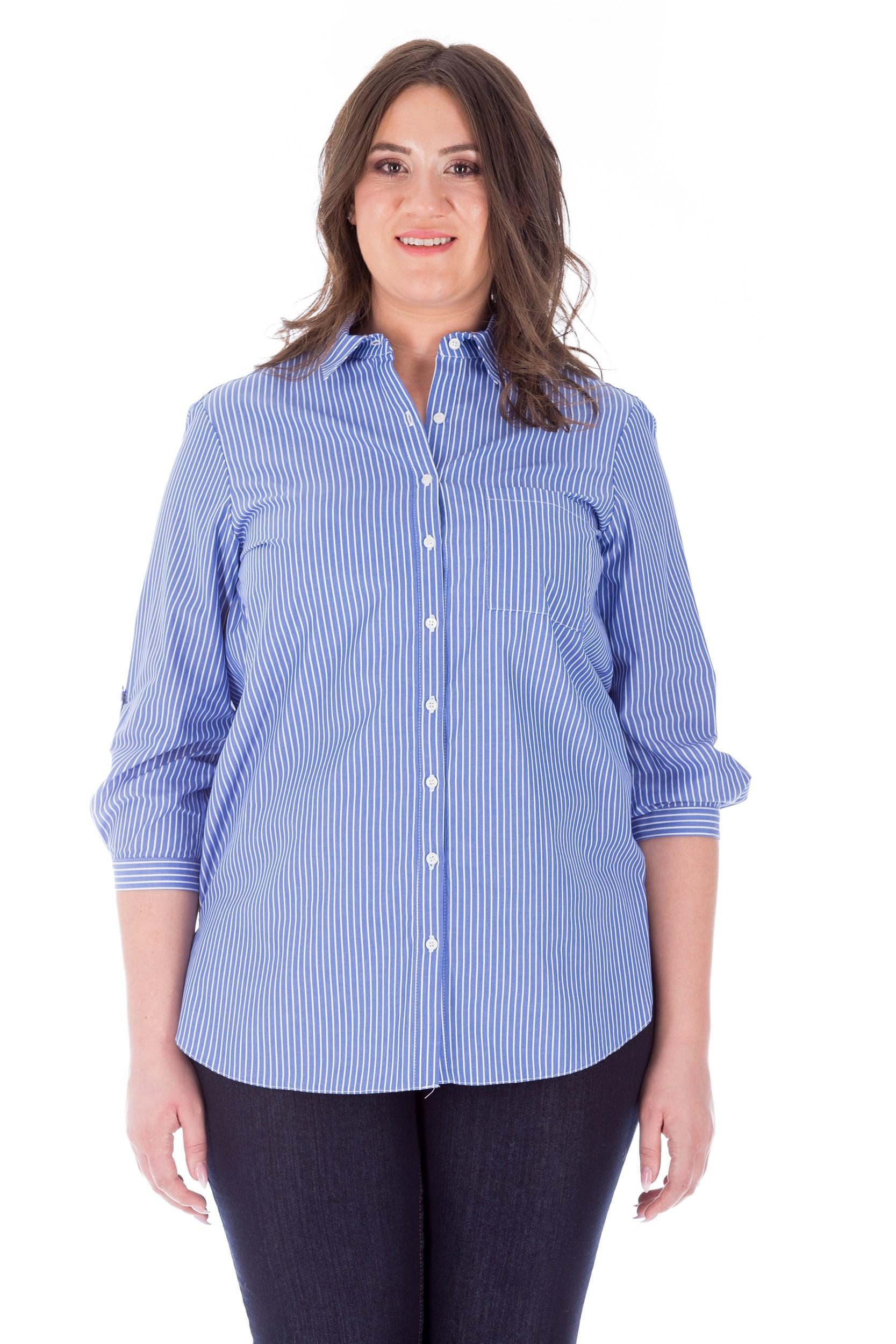 Bluză albastră cu dungi stil cămașă