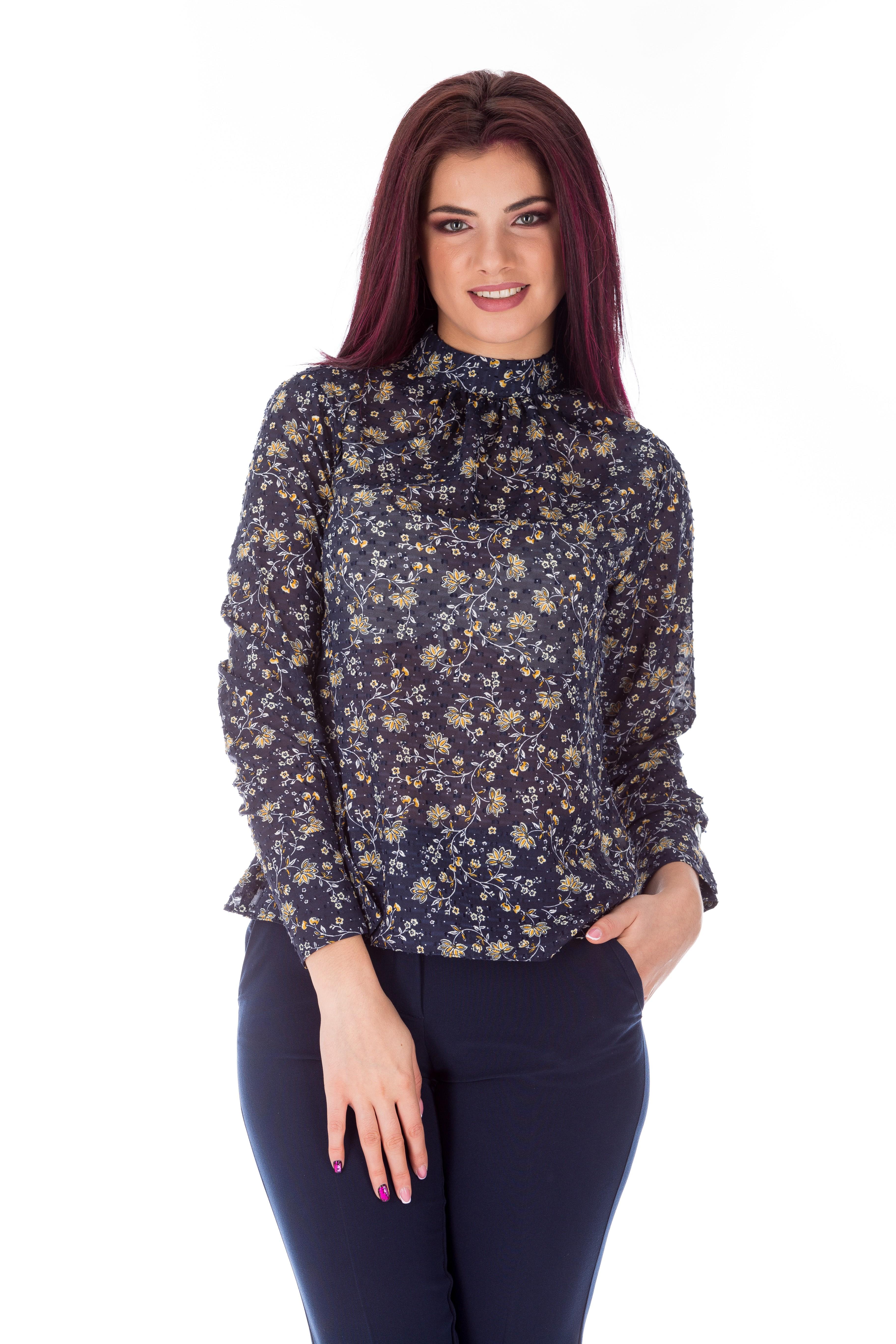 Bluza casual bleumarin cu imprimeu floral