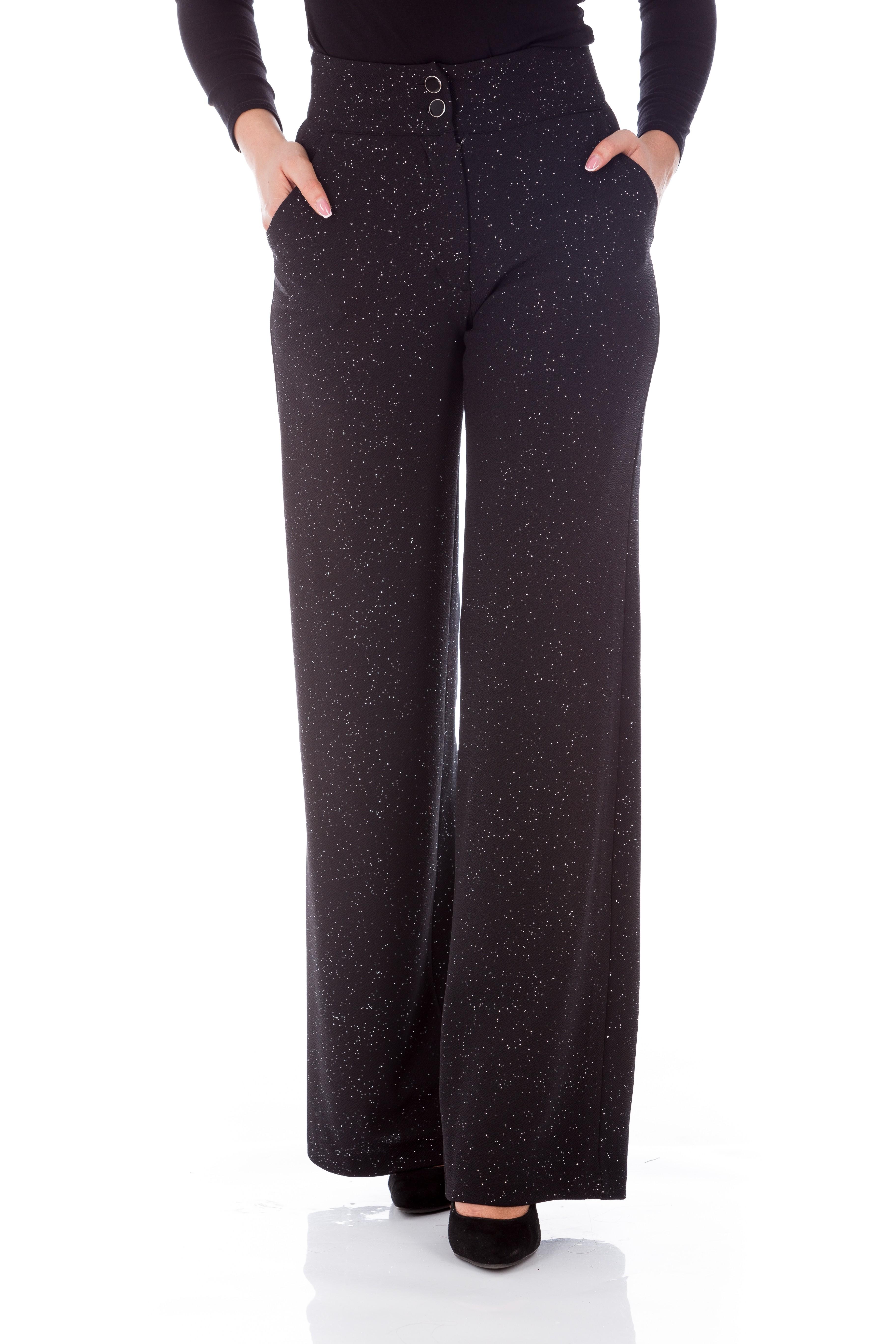 Pantaloni evazați negri cu sclipici