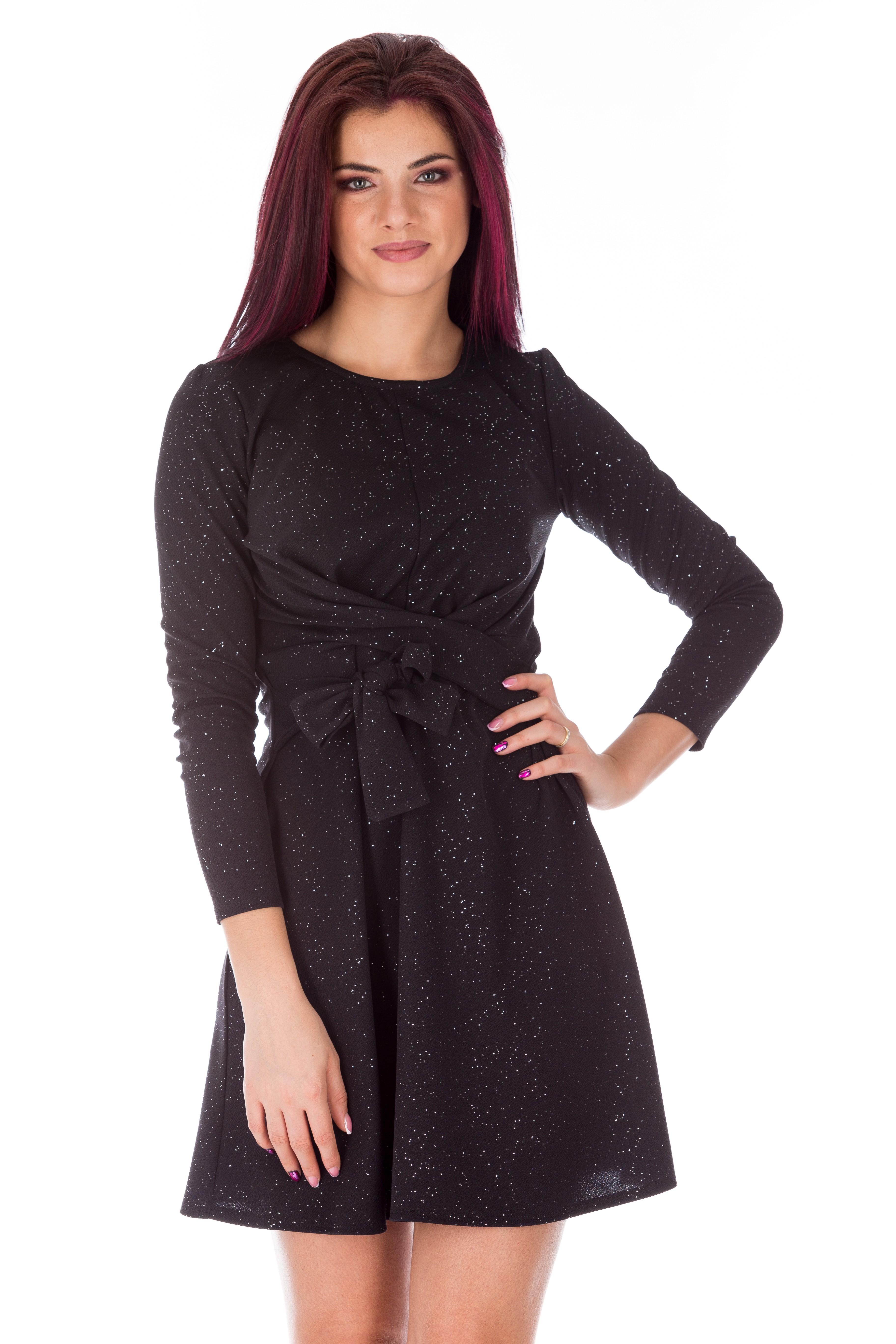 Rochie neagra cu sclipici eleganta de seara