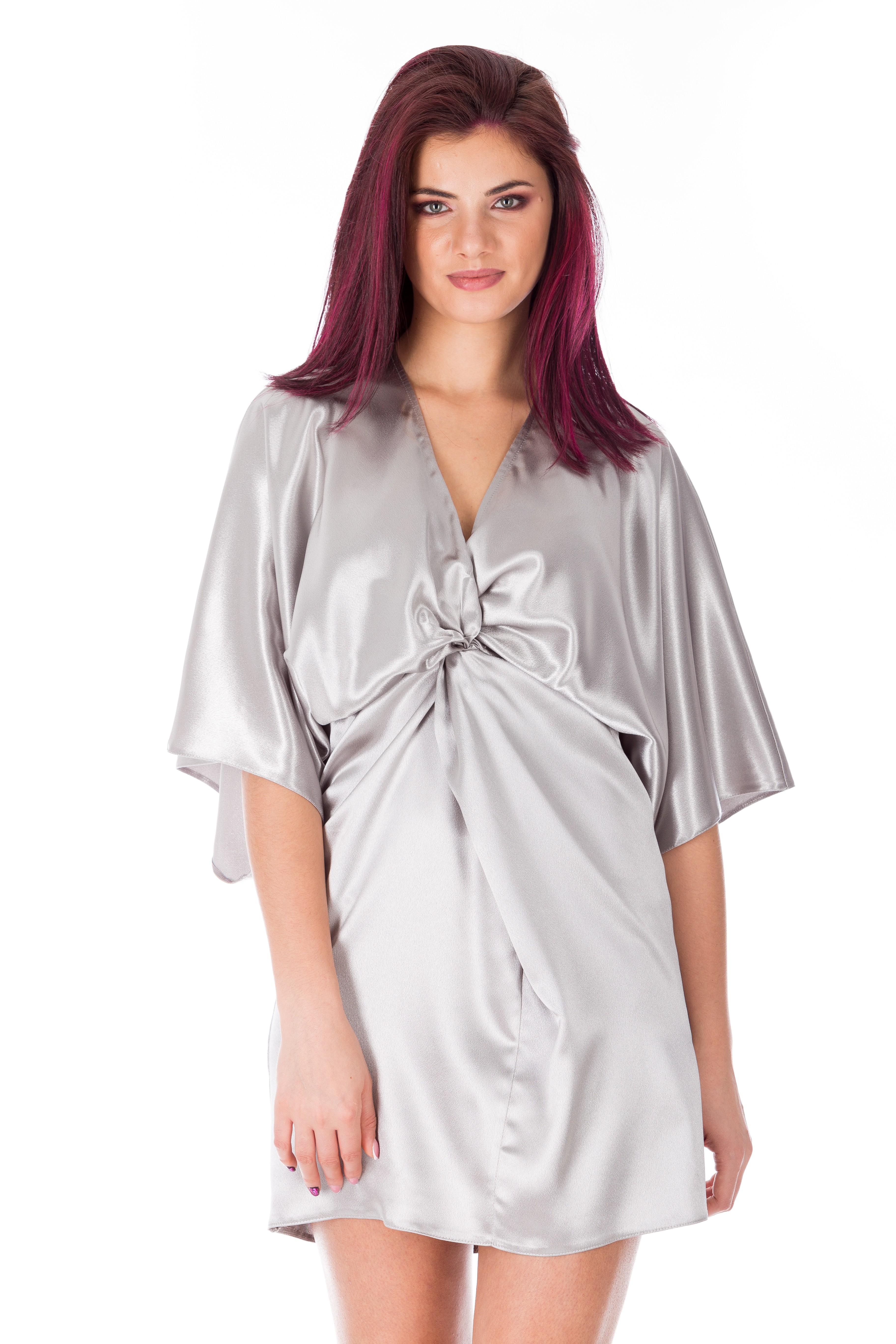 Rochie argintie scurta stil kimono
