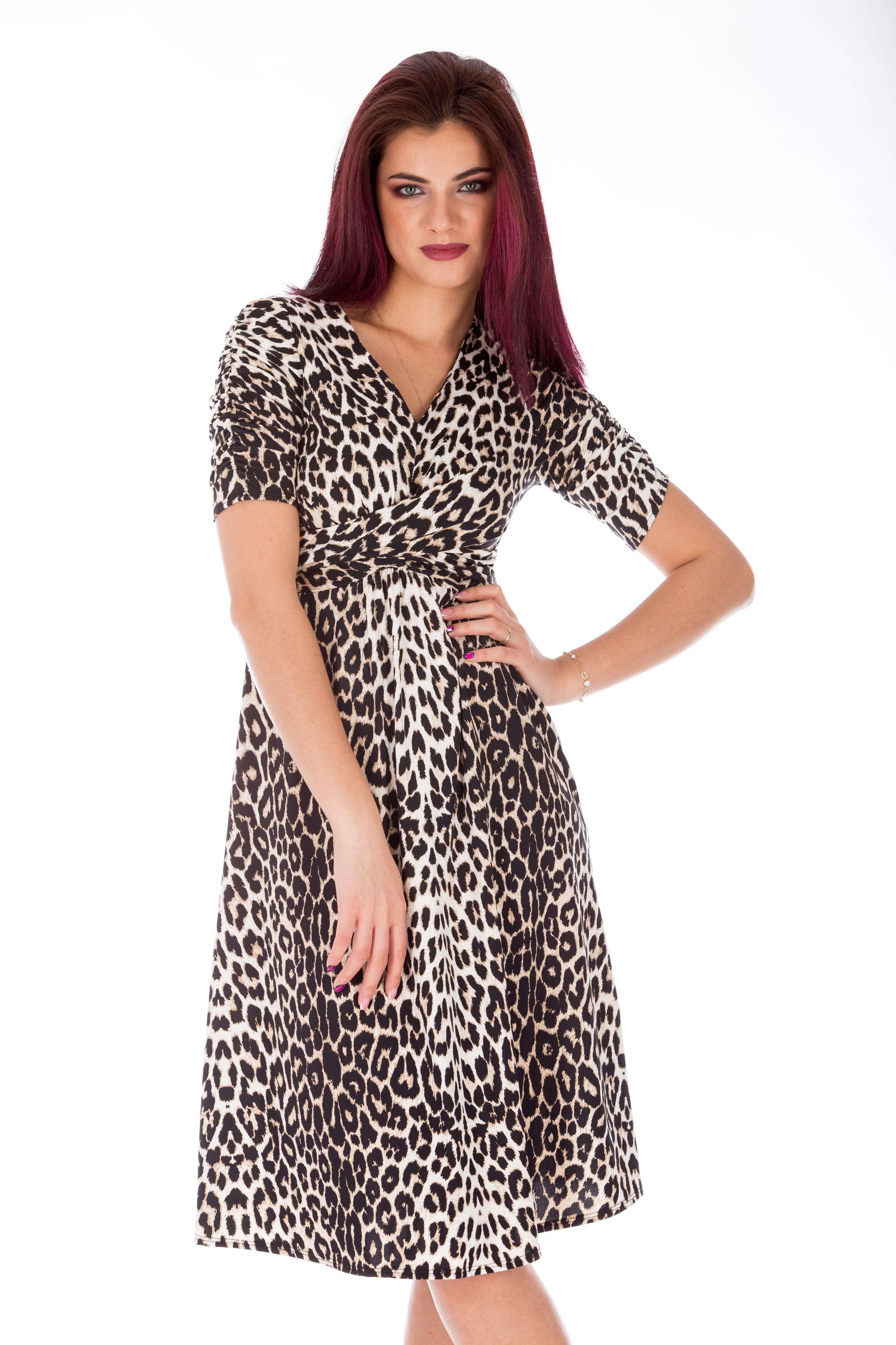 Rochie vintage clos print leopard