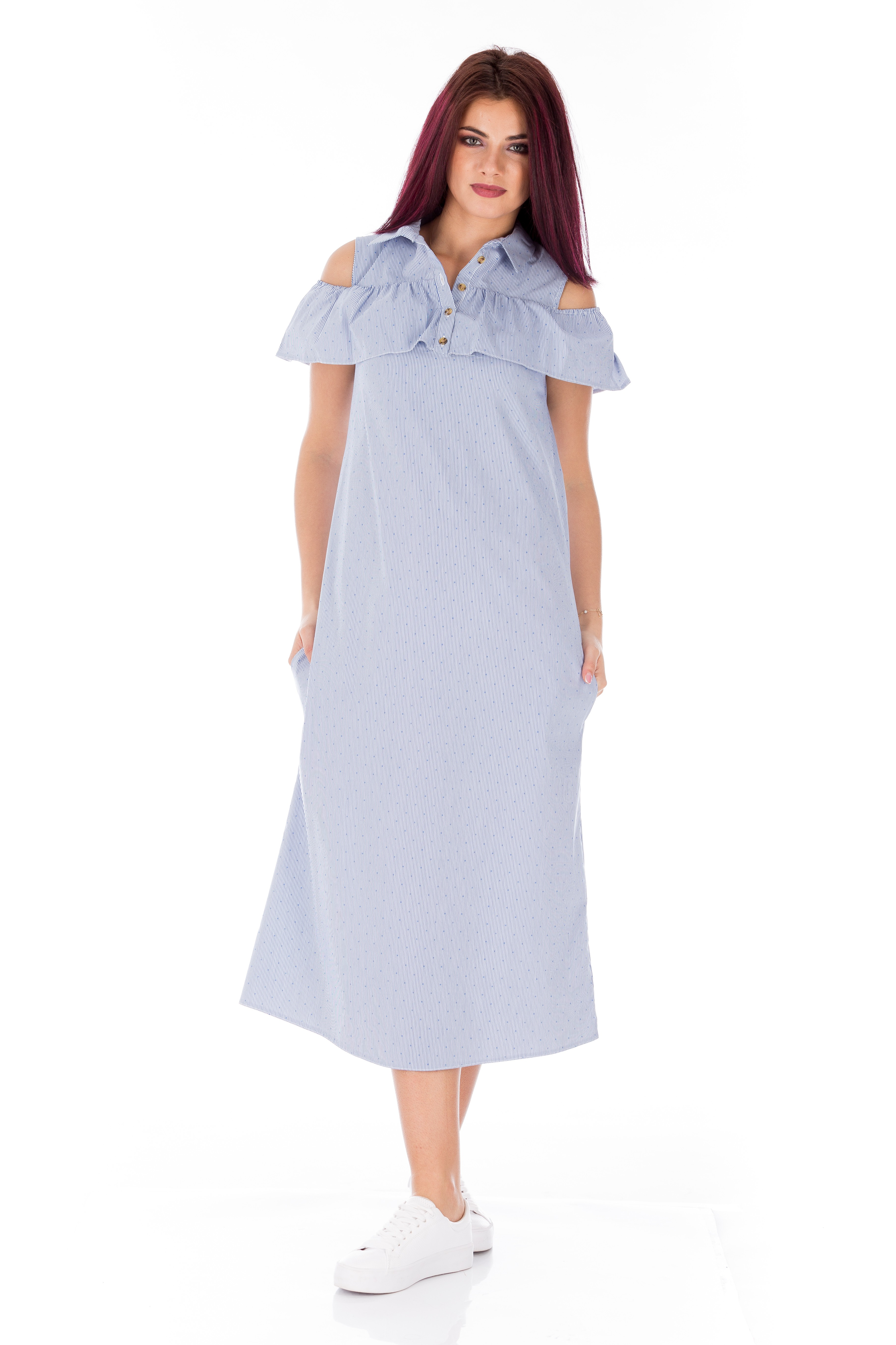 Rochie bleumarin in dungi cu picouri albe