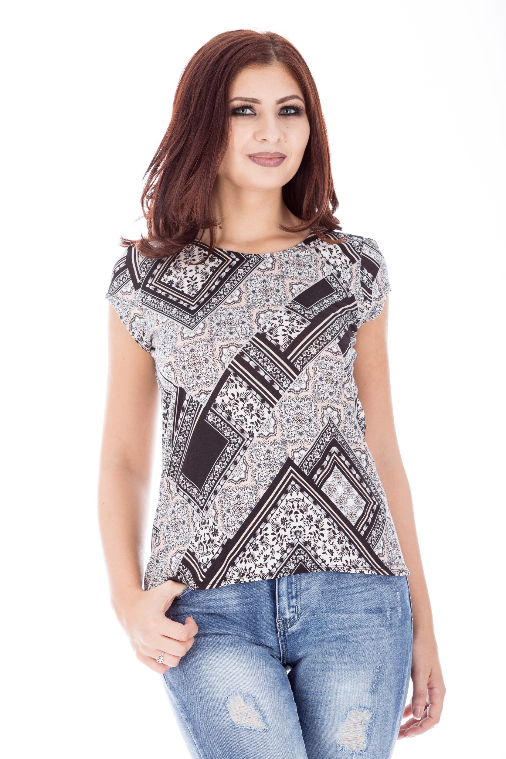 Bluza cu imprimeu din vascoza