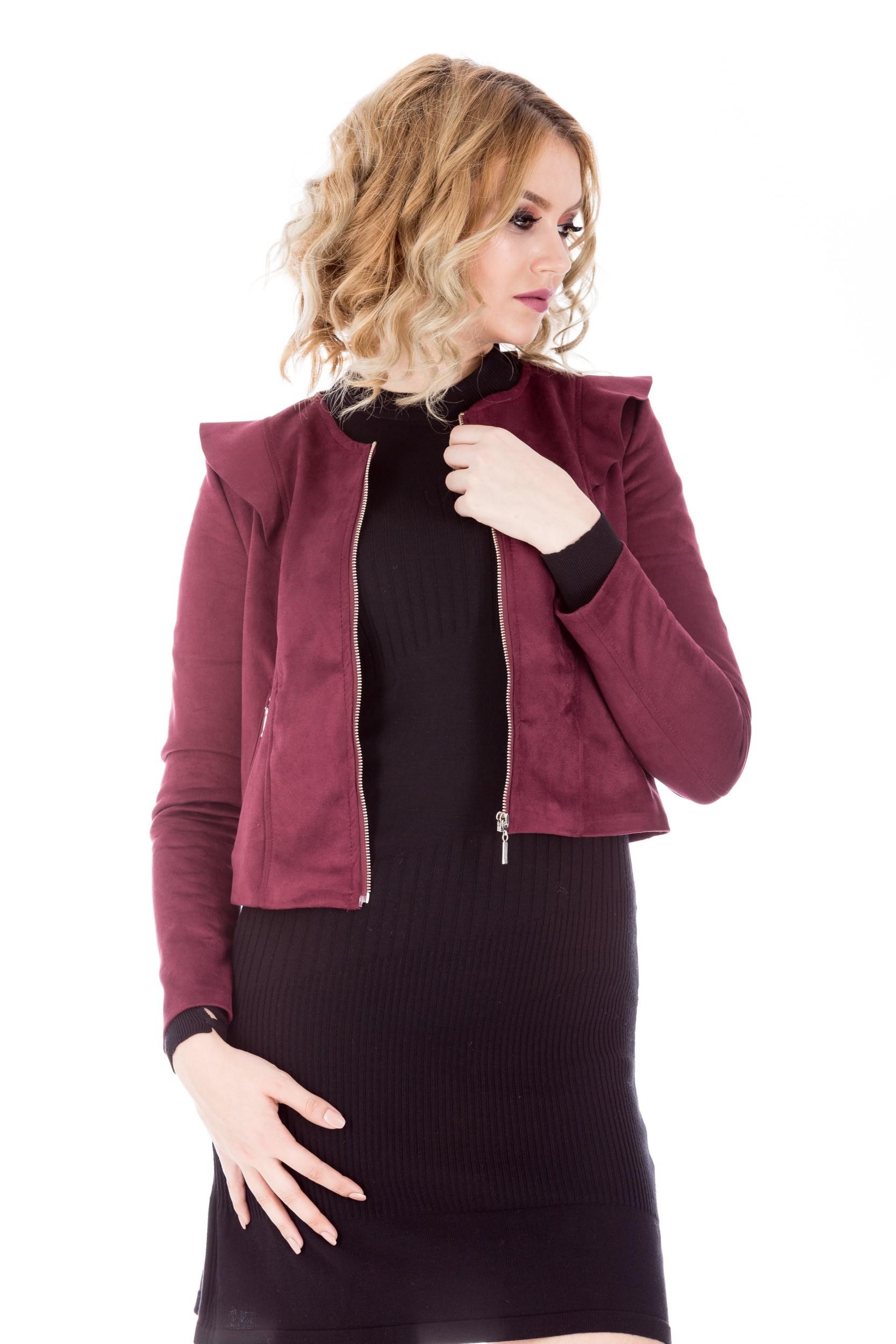 Jacheta bordo din imitatie de piele intoarsa