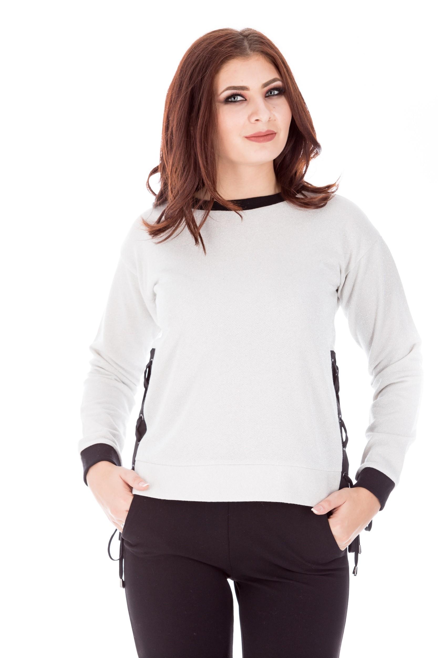 Bluza casual cu insertii argintii in material