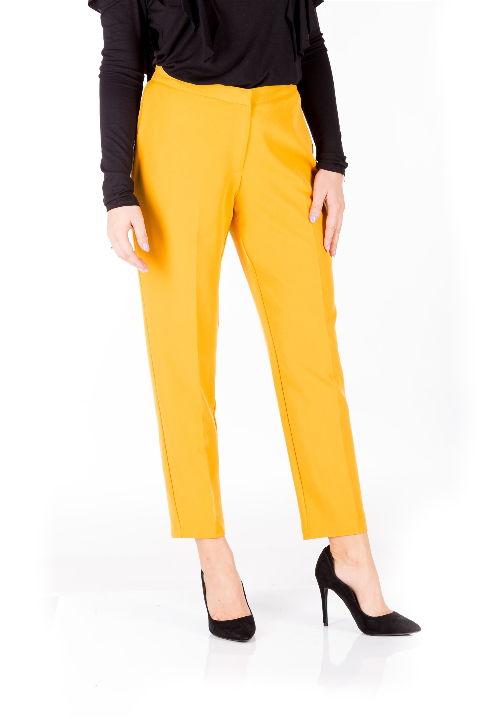 Pantaloni mustar cu talia elastica