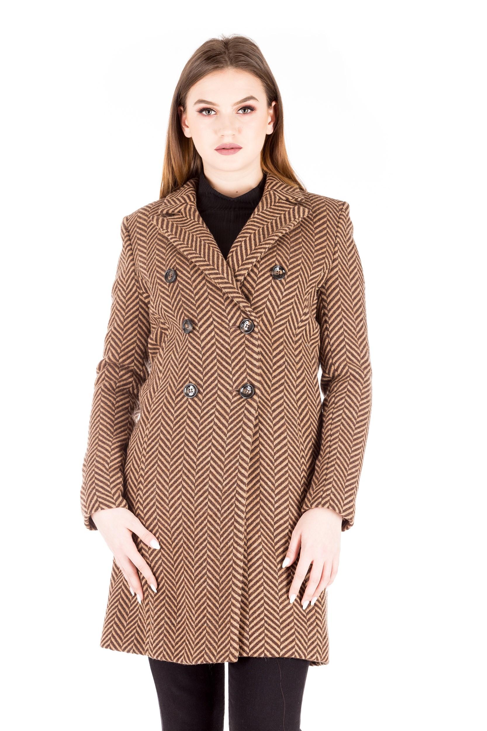 Palton bicromatic din lana