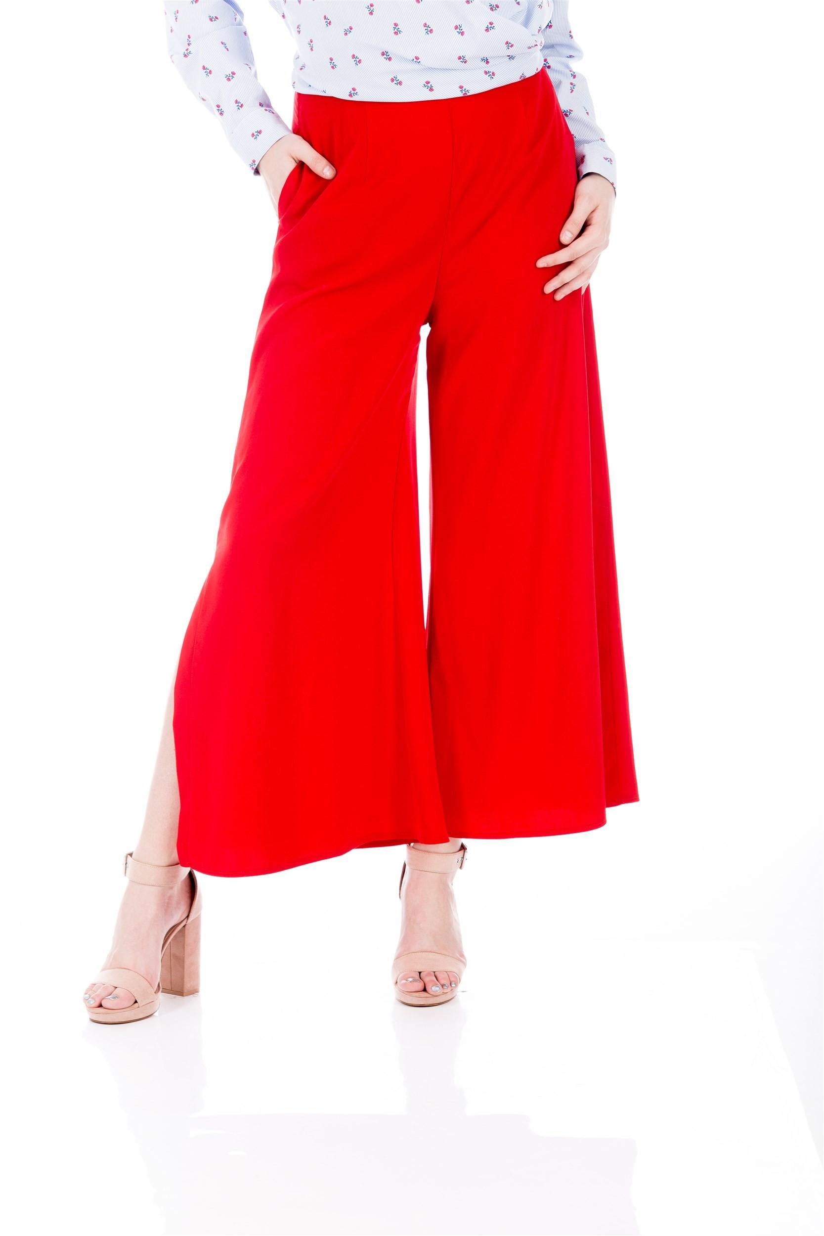 Pantaloni roșii stil Marlene