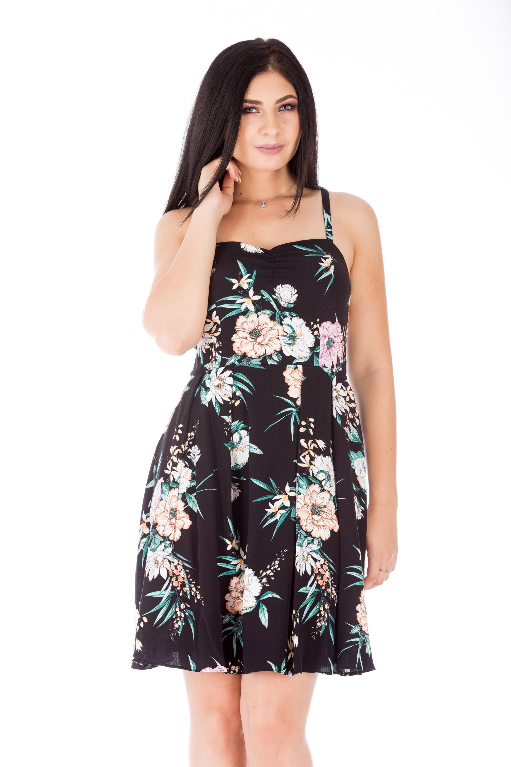 Rochie scurtă cu imprimeu floral pastel