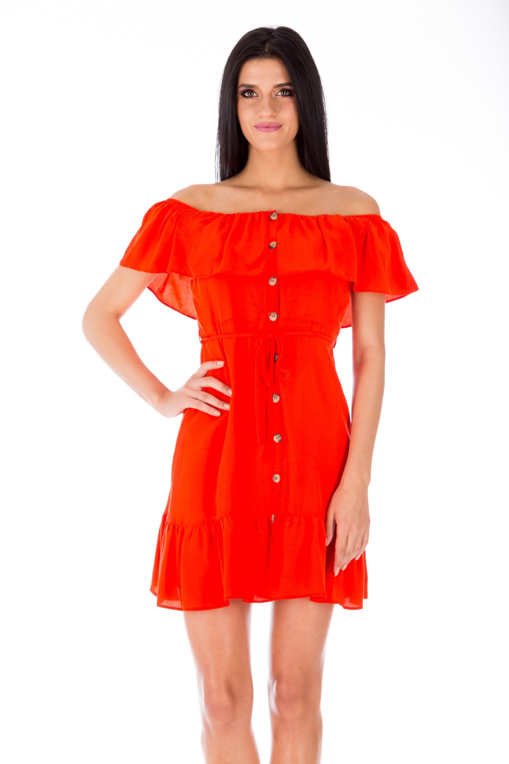 Rochie portocalie scurtă cu umerii căzuți