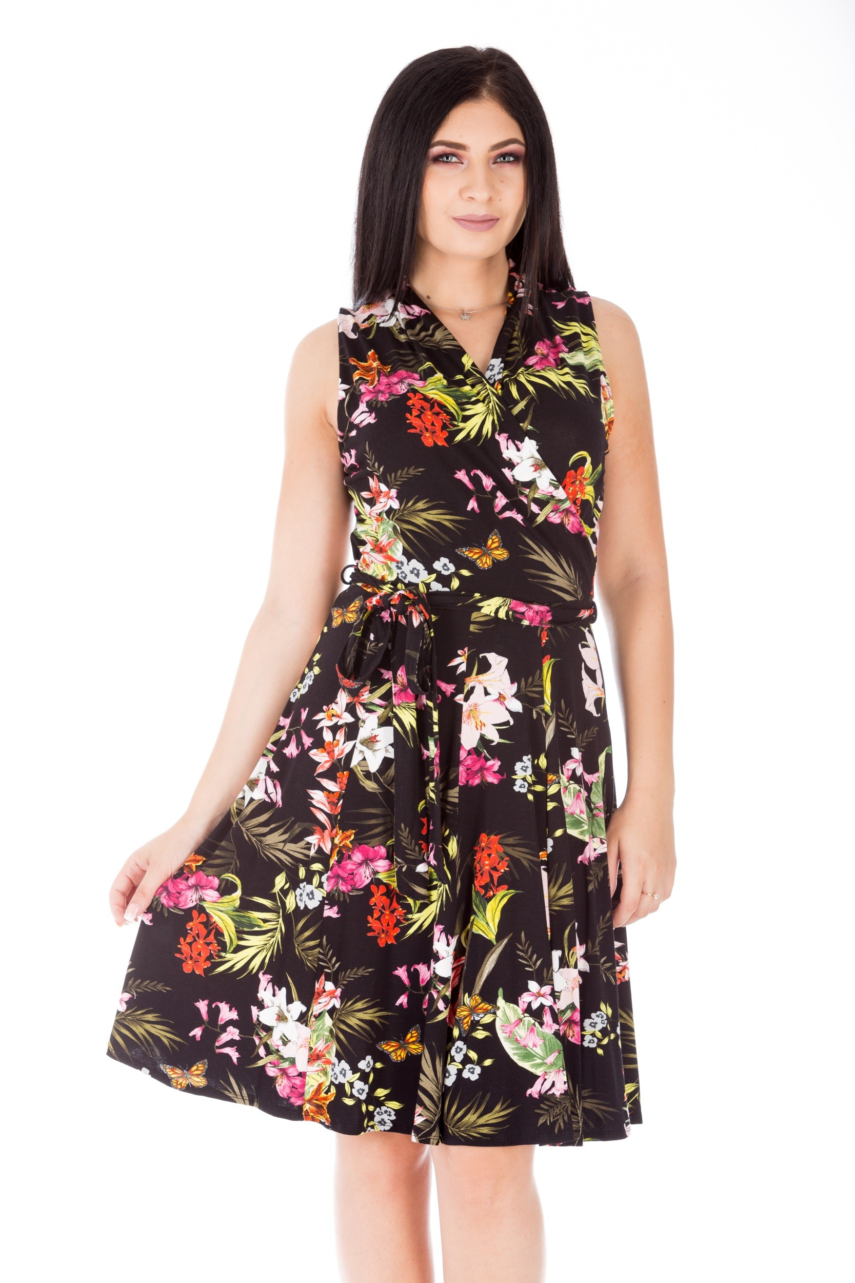 Rochie medie multicoloră cu imprimeu floral