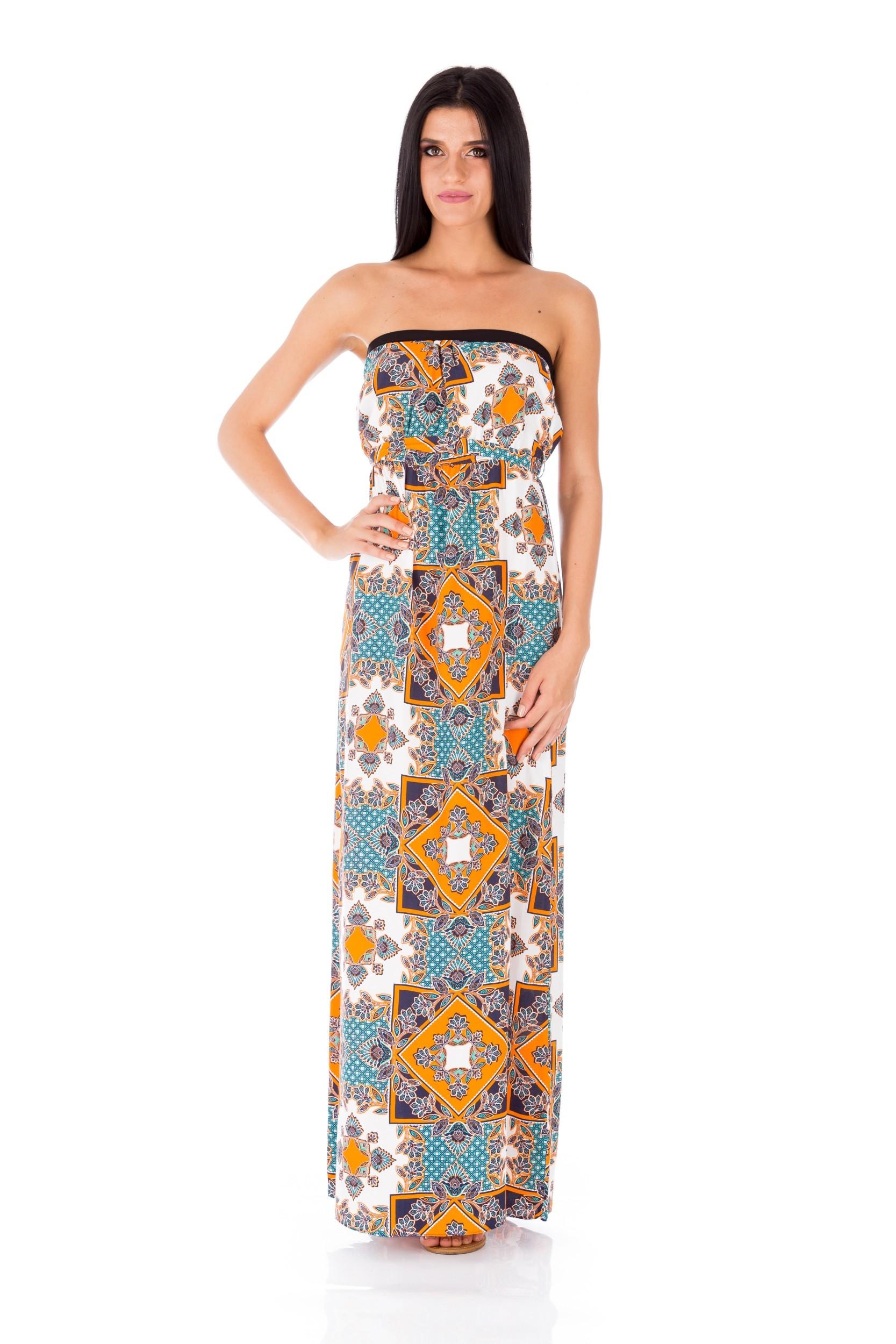 Rochie multicoloră de bumbac (lungă)