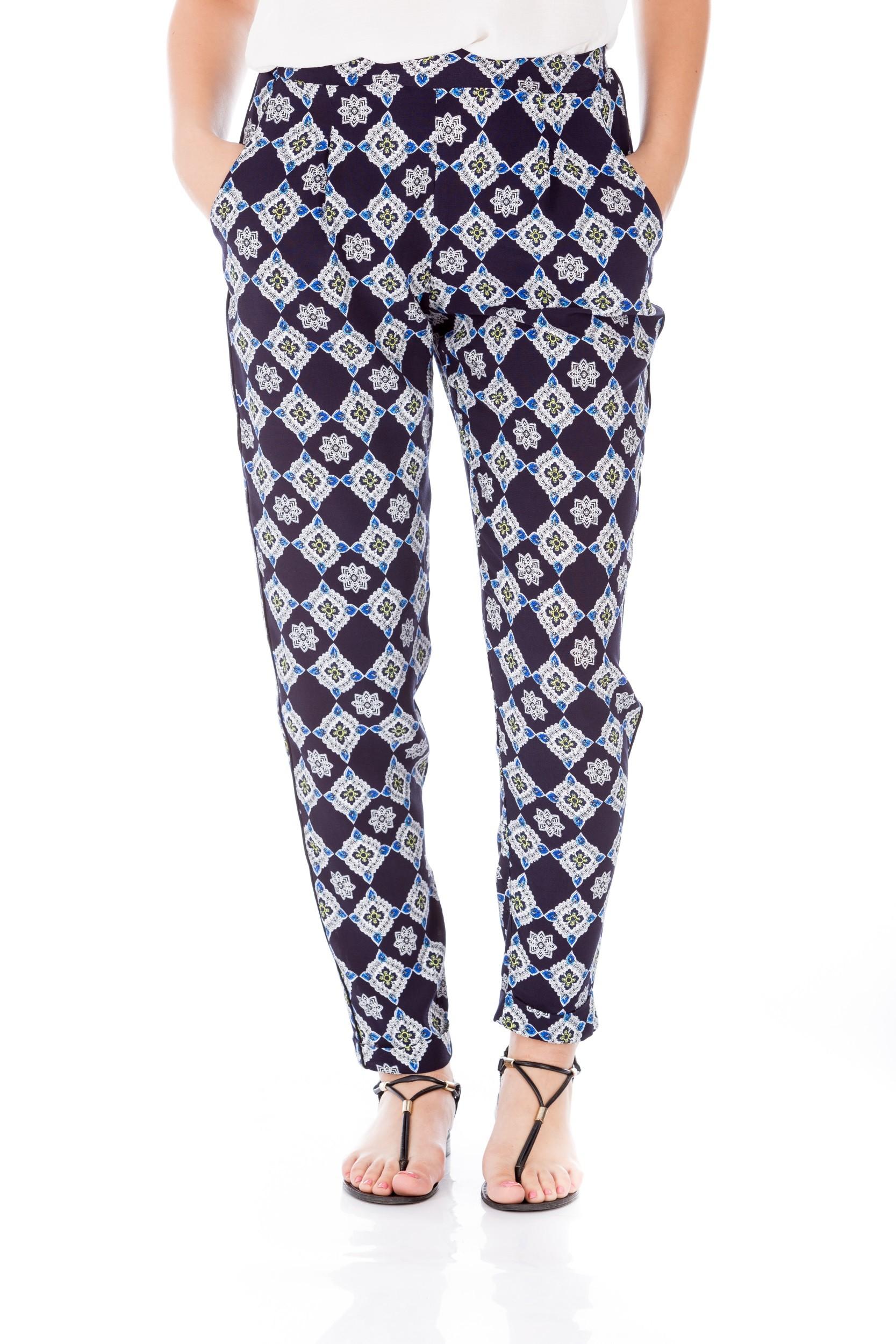 Pantaloni banană cu print geometric