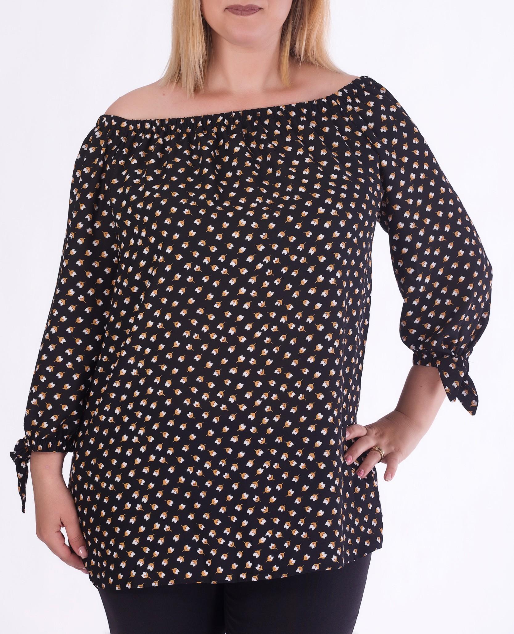 Bluza pe umeri cu imprimeu