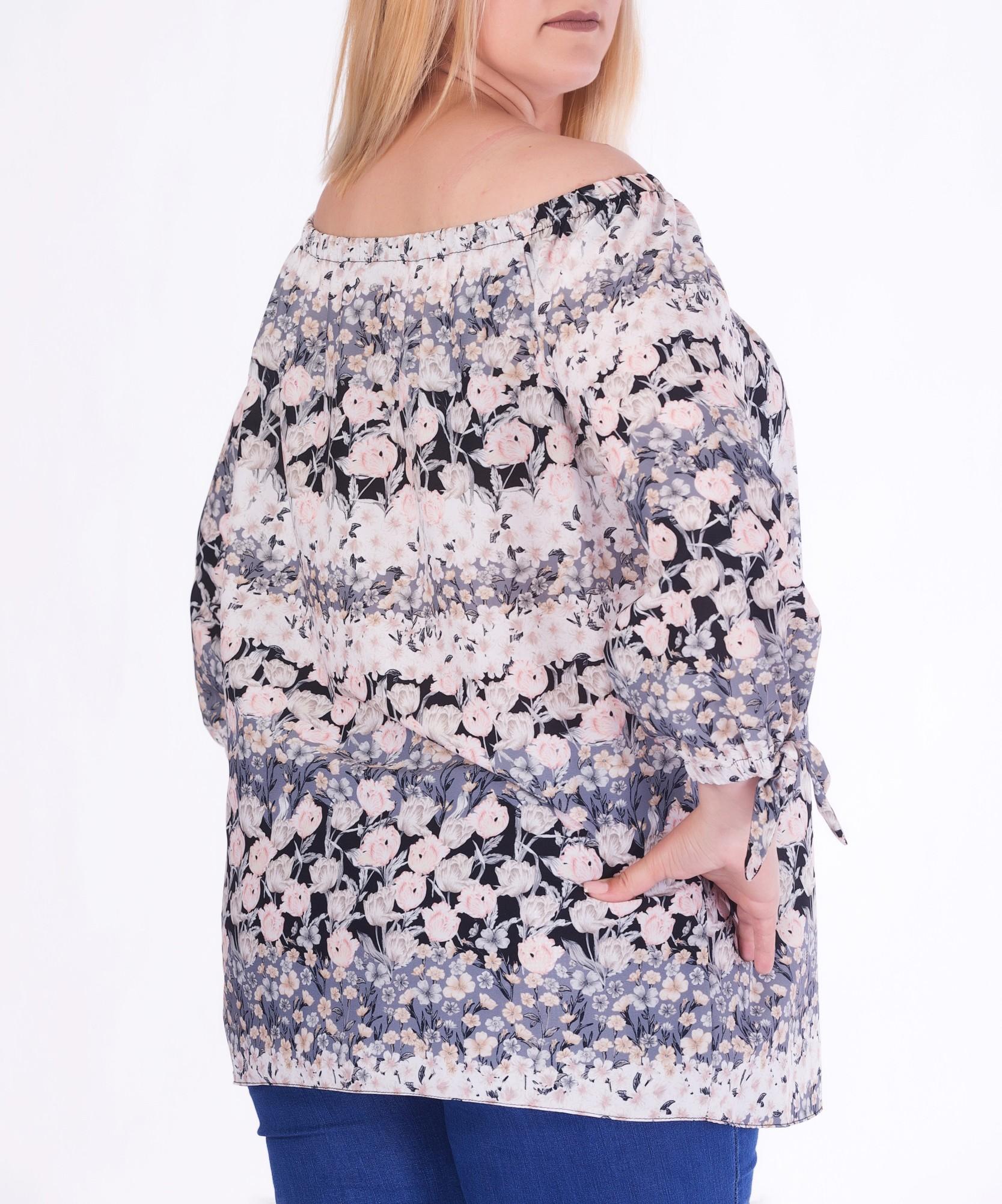 Bluza pe umeri cu imprimeu floral